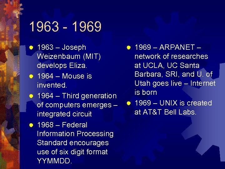 1963 - 1969 1963 – Joseph Weizenbaum (MIT) develops Eliza. ® 1964 – Mouse