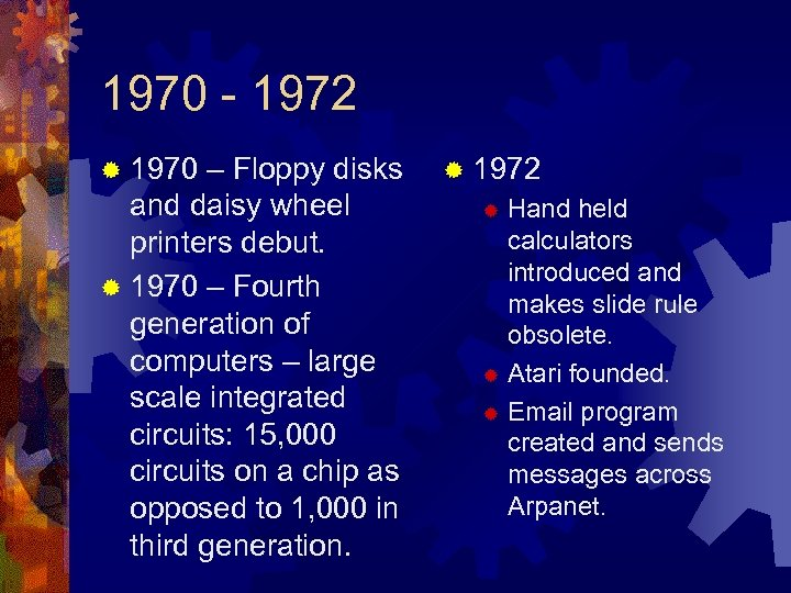 1970 - 1972 ® 1970 – Floppy disks and daisy wheel printers debut. ®