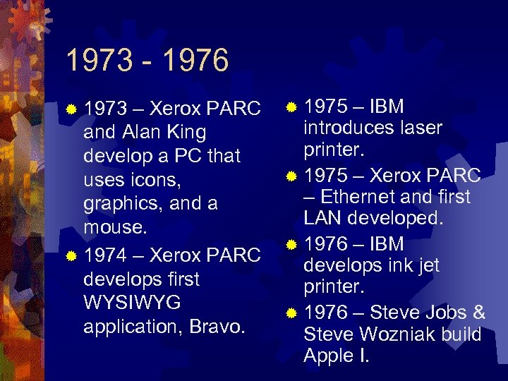 1973 - 1976 ® 1973 – Xerox PARC and Alan King develop a PC