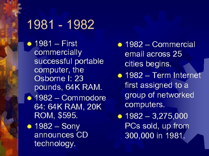 1981 - 1982 ® 1981 – First commercially successful portable computer, the Osborne I: