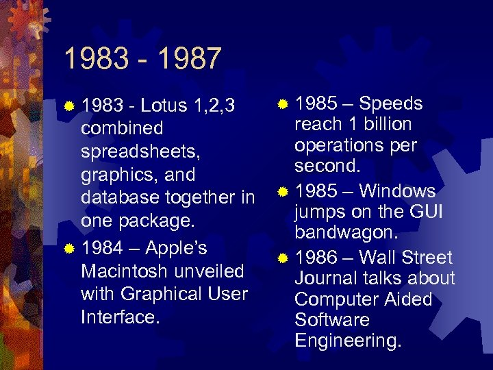 1983 - 1987 ® 1983 - Lotus 1, 2, 3 combined spreadsheets, graphics, and
