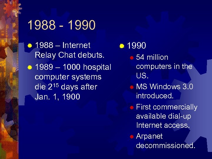 1988 - 1990 ® 1988 – Internet ® 1990 Relay Chat debuts. ® 54