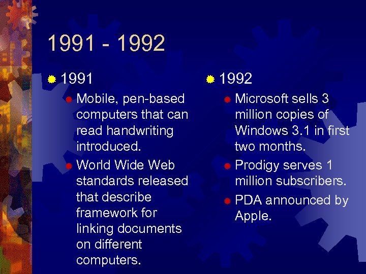 1991 - 1992 ® 1991 Mobile, pen-based computers that can read handwriting introduced. ®