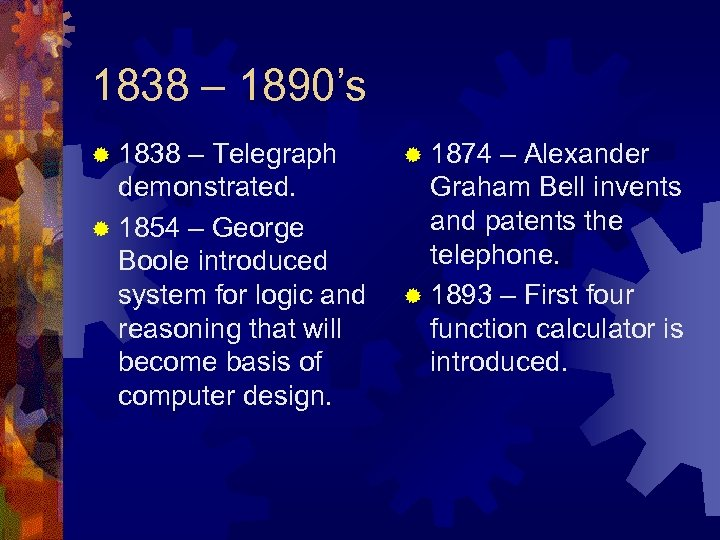 1838 – 1890's ® 1838 – Telegraph demonstrated. ® 1854 – George Boole introduced
