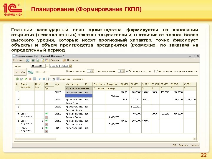 Планирование (Формирование ГКПП) Главный календарный план производства формируется на основании открытых (неисполненных) заказов покупателей