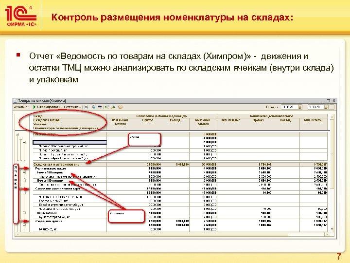 Контроль размещения номенклатуры на складах: § Отчет «Ведомость по товарам на складах (Химпром)» -