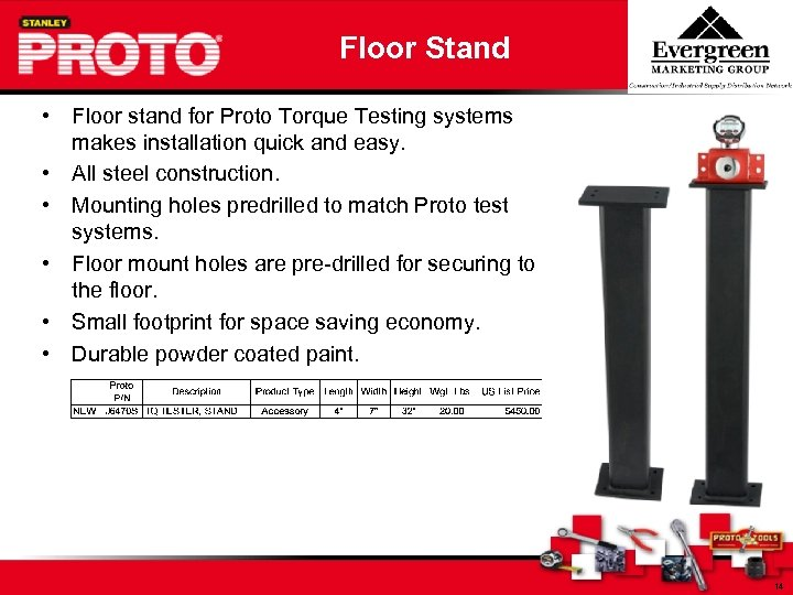 Floor Stand • Floor stand for Proto Torque Testing systems makes installation quick and