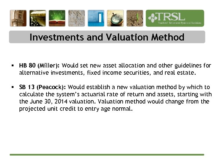 Investments and Valuation Method § HB 80 (Miller): Would set new asset allocation and