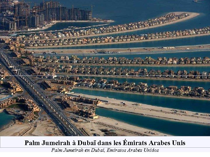 Palm Jumeirah à Dubaï dans les Émirats Arabes Unis Palm Jumeirah en Dubai, Emiratos