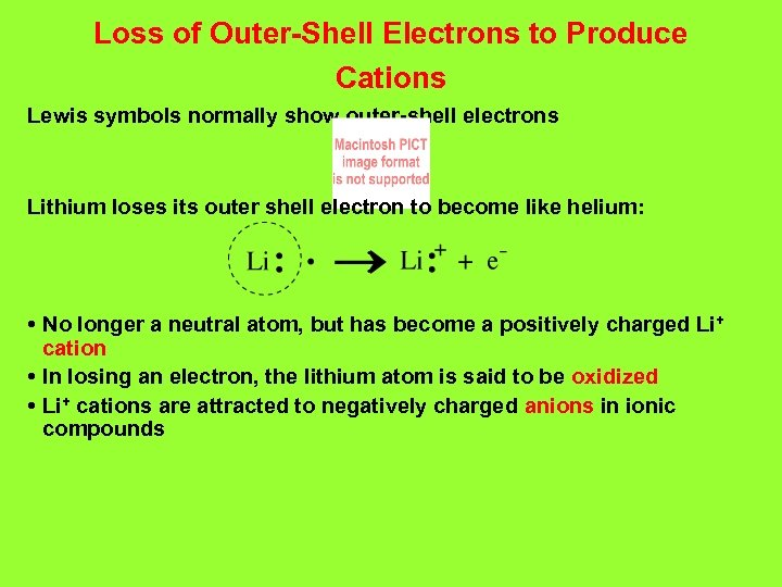 Loss of Outer-Shell Electrons to Produce Cations Lewis symbols normally show outer-shell electrons Lithium