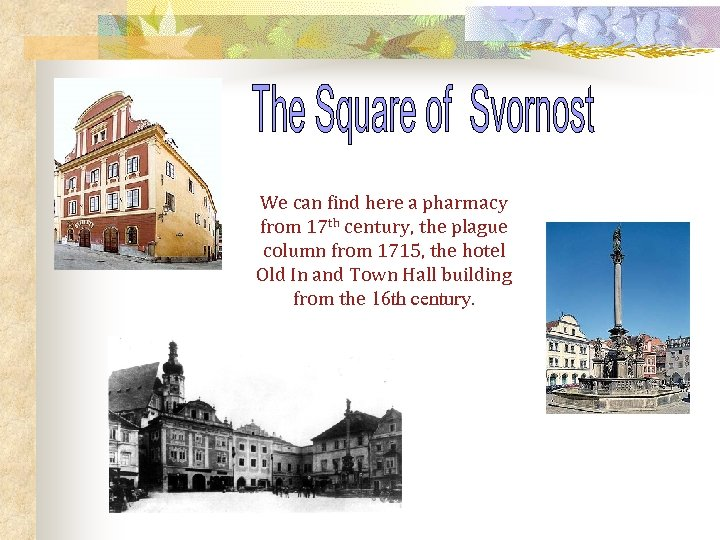 We can find here a pharmacy from 17 th century, the plague column from