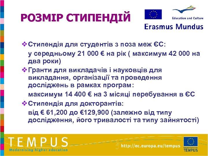 РОЗМІР СТИПЕНДІЙ v. Стипендія для студентів з поза меж ЄС: у середньому 21 000
