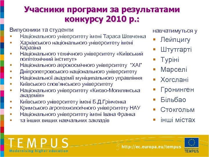 Учасники програми за результатами конкурсу 2010 р. : Випускники та студенти § § §