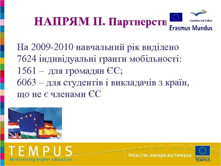 НАПРЯМ II. Партнерство На 2009 -2010 навчальний рік виділено 7624 індивідуальні гранти мобільності: 1561
