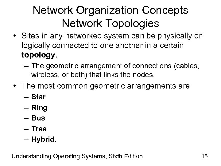 Network Organization Concepts Network Topologies • Sites in any networked system can be physically