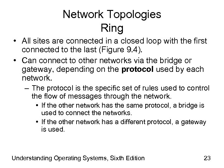 Network Topologies Ring • All sites are connected in a closed loop with the