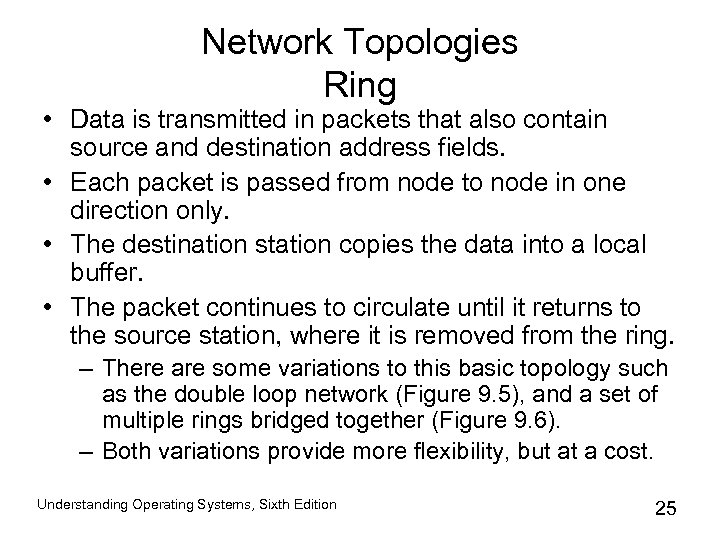 Network Topologies Ring • Data is transmitted in packets that also contain source and