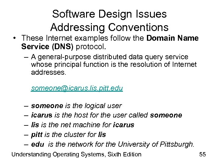 Software Design Issues Addressing Conventions • These Internet examples follow the Domain Name Service