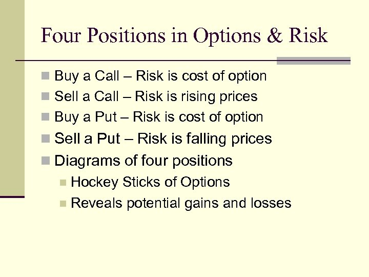 Four Positions in Options & Risk n Buy a Call – Risk is cost