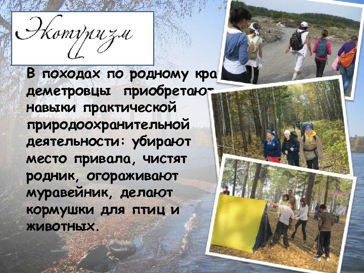В походах по родному краю деметровцы приобретают навыки практической природоохранительной деятельности: убирают место привала,