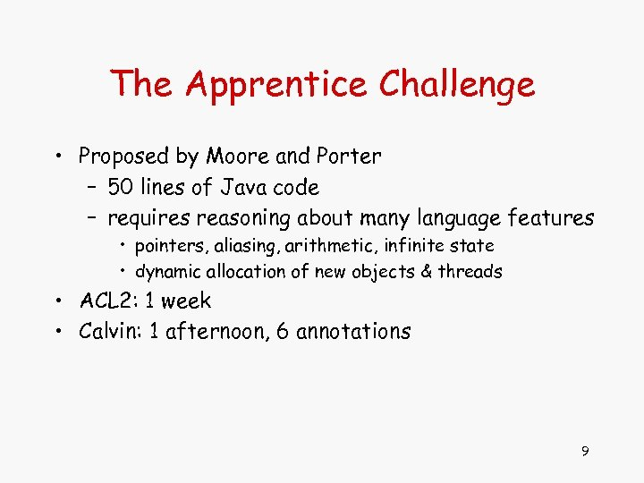 The Apprentice Challenge • Proposed by Moore and Porter – 50 lines of Java