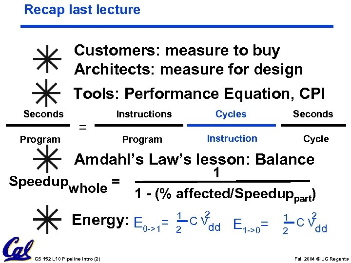 Recap last lecture Customers: measure to buy Architects: measure for design Tools: Performance Equation,
