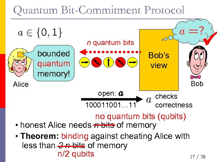 Quantum Bit-Commitment Protocol n quantum bits bounded quantum memory! Bob's view Bob Alice open: