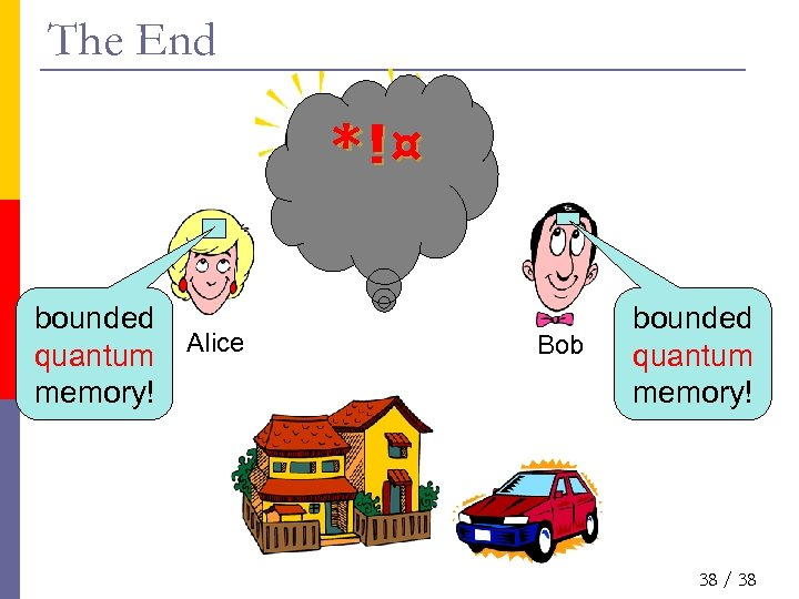 The End *!¤ bounded quantum memory! Alice Bob bounded quantum memory! 38 / 38