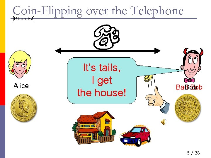 Coin-Flipping over the Telephone [Blum 82] Alice It's tails, I get the house! Bad