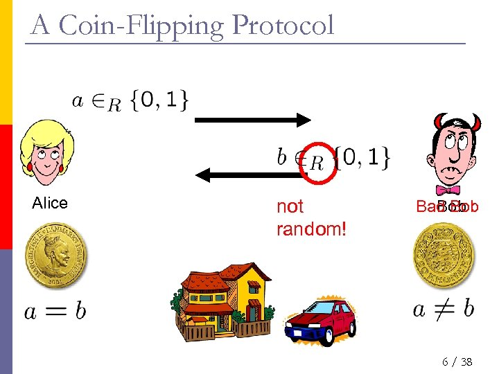 A Coin-Flipping Protocol Alice not random! Bad Bob 6 / 38