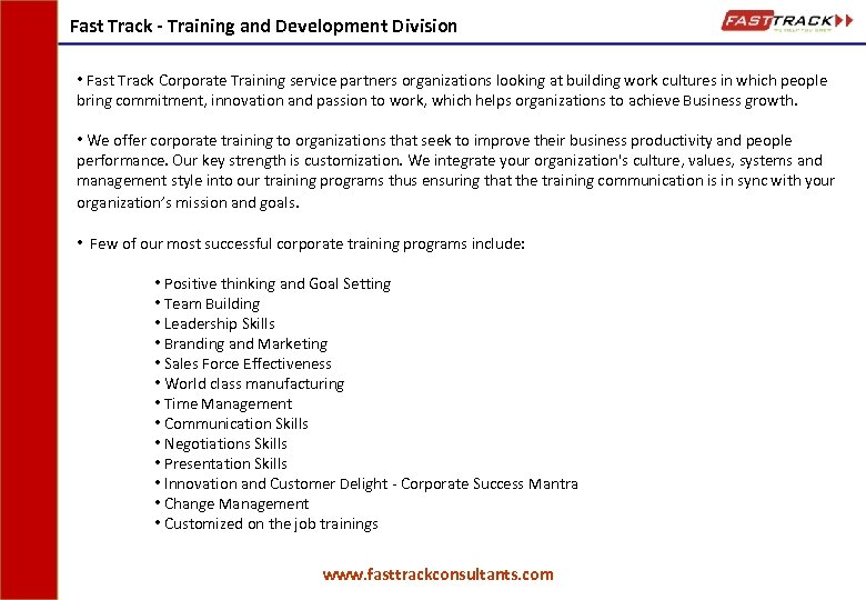 Fast Track - Training and Development Division • Fast Track Corporate Training service partners