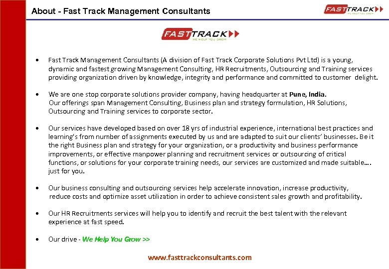 About - Fast Track Management Consultants • Fast Track Management Consultants (A division of