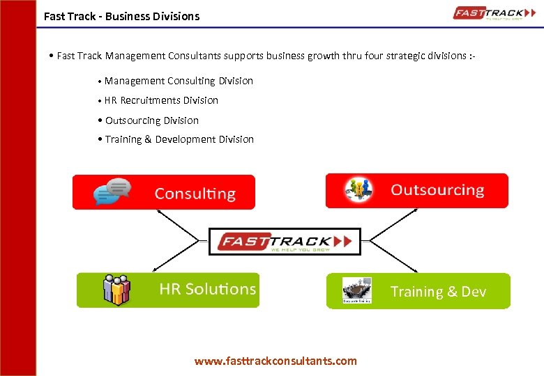 Fast Track - Business Divisions • Fast Track Management Consultants supports business growth thru