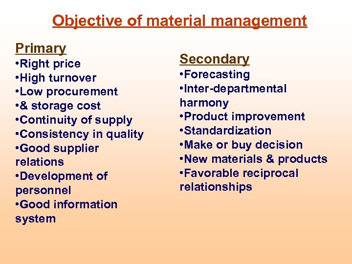 Objective of material management Primary • Right price • High turnover • Low procurement