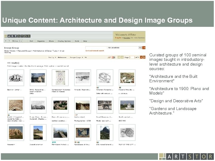 Art. STOR Unique Content: Architecture and Design Image Groups architecture and design courses. Curated