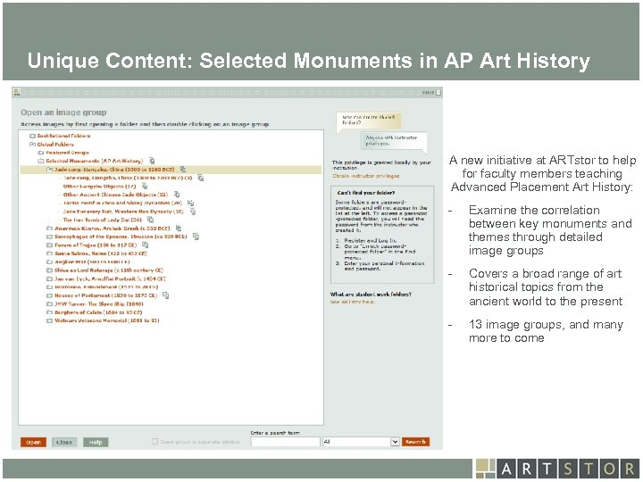 Art. STOR Unique Content: Selected Monuments in AP Art History A new initiative at
