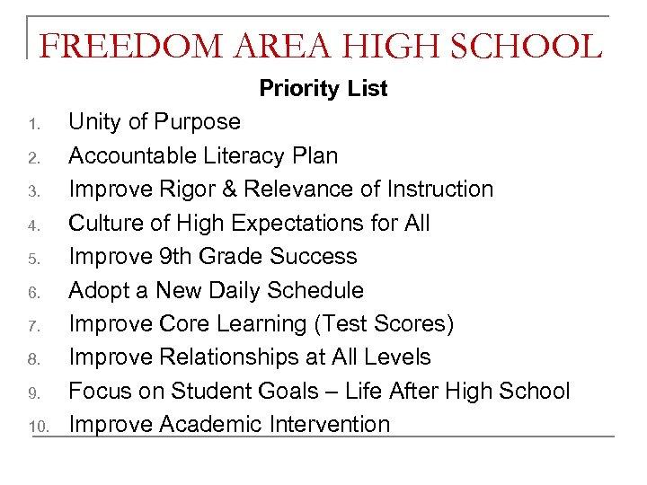 FREEDOM AREA HIGH SCHOOL Priority List 1. 2. 3. 4. 5. 6. 7. 8.