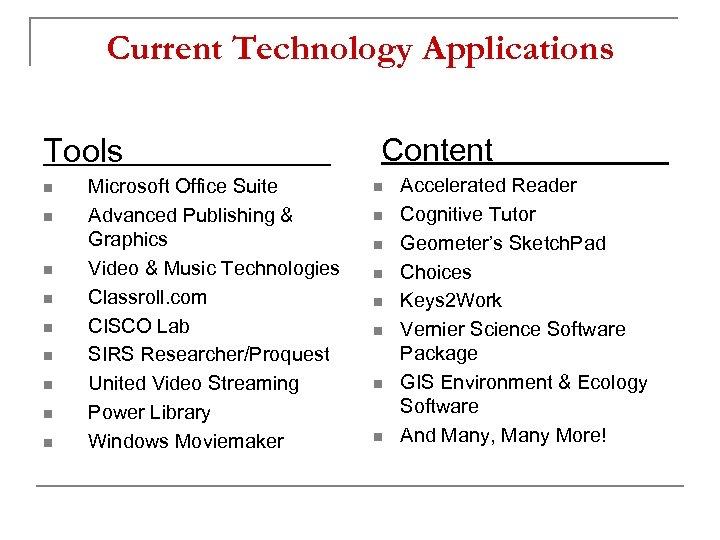 Current Technology Applications Tools n n n n n Microsoft Office Suite Advanced Publishing