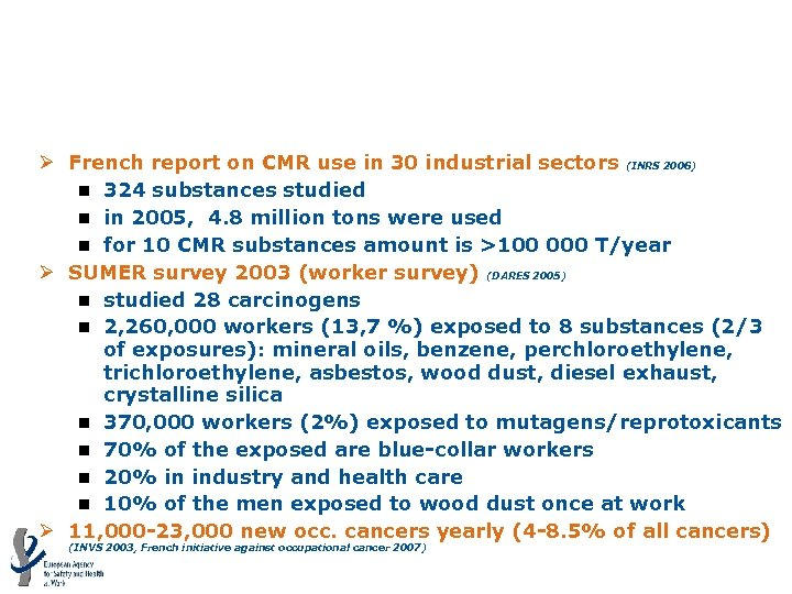 CMRs: Member State example: France Ø French report on CMR use in 30 industrial