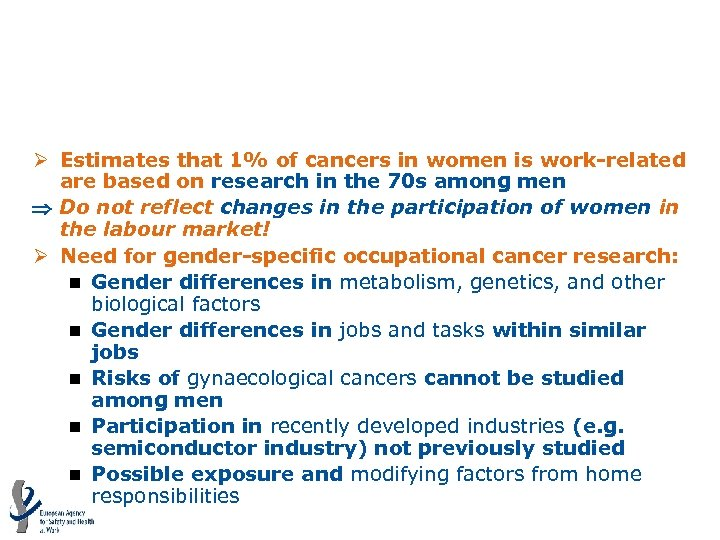 Occupational exposure to carcinogens: Gender issues Ø Estimates that 1% of cancers in women