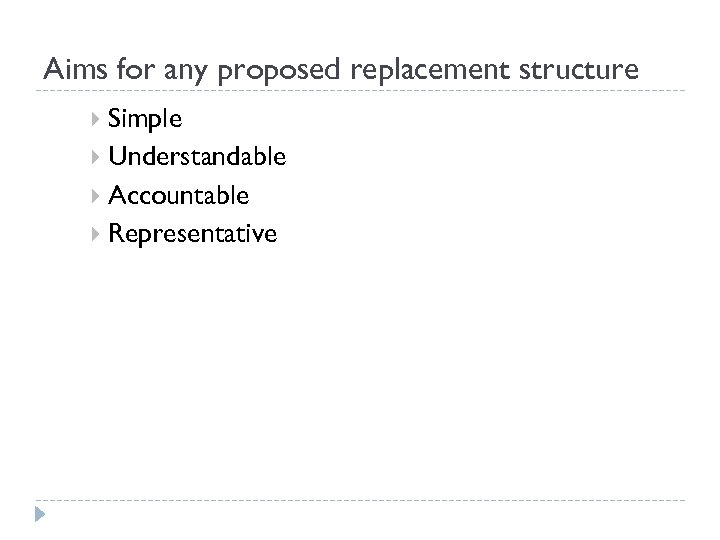 Aims for any proposed replacement structure Simple Understandable Accountable Representative