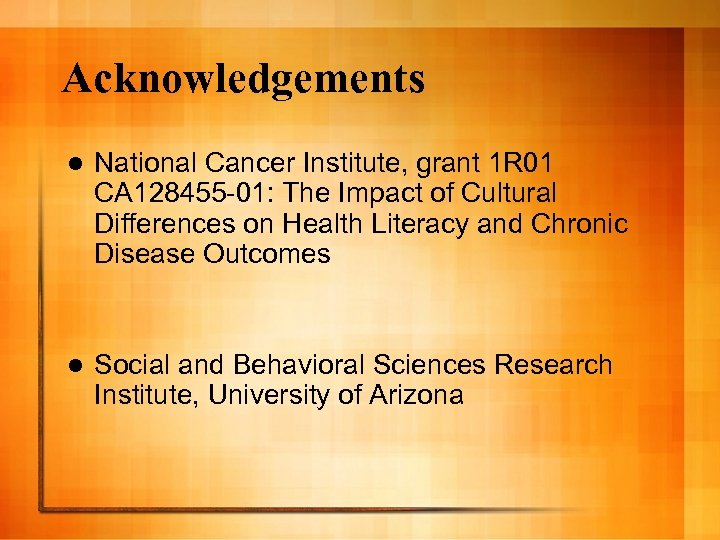 Acknowledgements l National Cancer Institute, grant 1 R 01 CA 128455 -01: The Impact