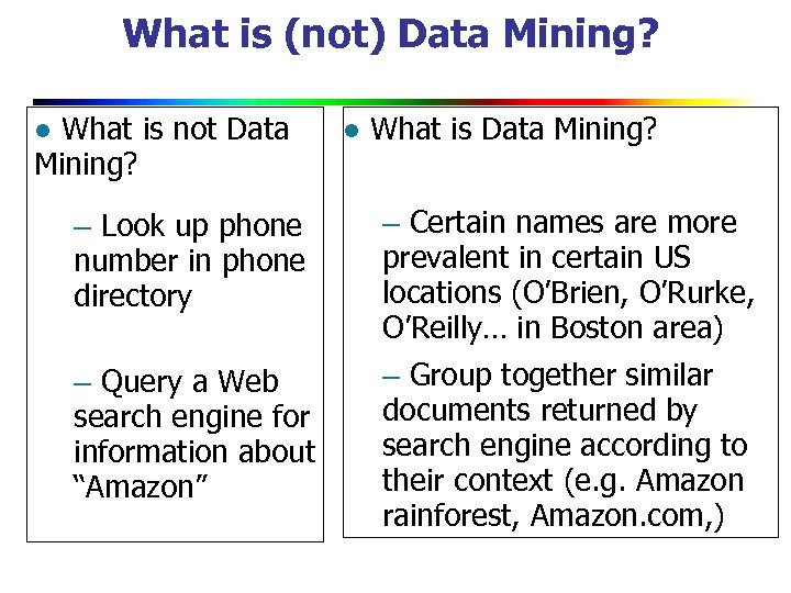 What is (not) Data Mining? l What is not Data Mining? – Look up