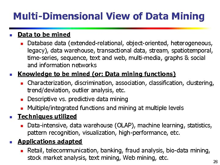 Multi-Dimensional View of Data Mining n n Data to be mined n Database data