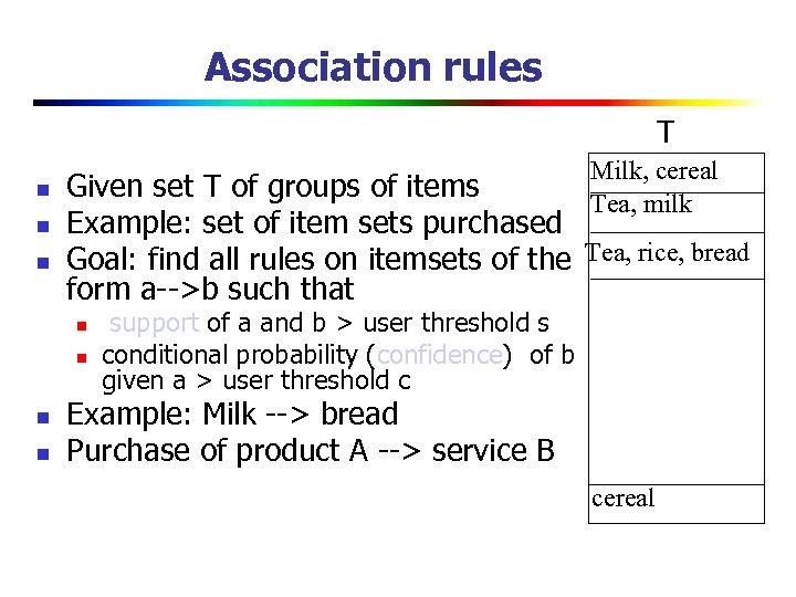 Association rules T n n n Milk, cereal Tea, milk Given set T of