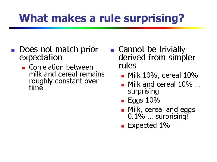 What makes a rule surprising? n Does not match prior expectation n Correlation between