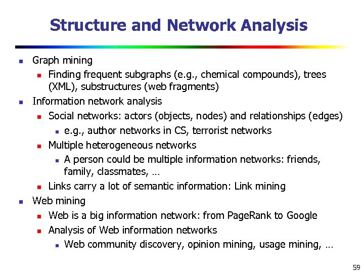 Structure and Network Analysis n n n Graph mining n Finding frequent subgraphs (e.