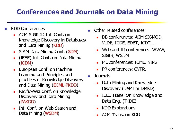 Conferences and Journals on Data Mining n KDD Conferences n n ACM SIGKDD Int.