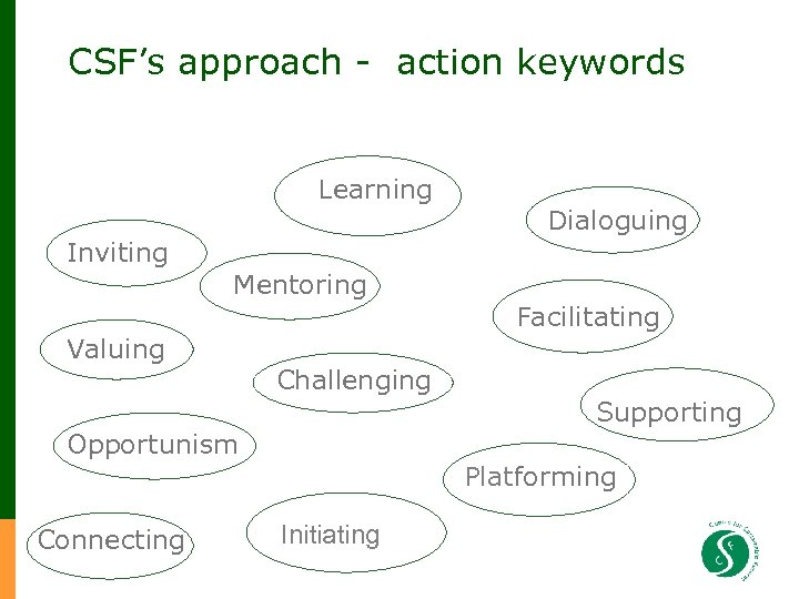 CSF's approach - action keywords Inviting Learning Dialoguing Mentoring Valuing Challenging Opportunism Connecting Facilitating