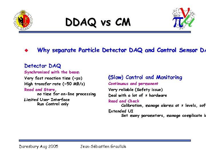 DDAQ vs CM u Why separate Particle Detector DAQ and Control Sensor DA Detector
